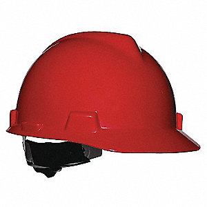 Hard Hat,FrtBrim,Slotted,4Rtcht,Red