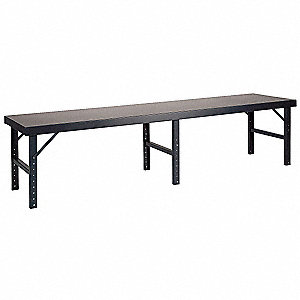 Work Table,Fold-Down,W 96,D 48,Steel Top