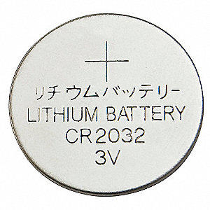 Lithium Coin Cell, Voltage 3, Battery Size 2032, 1 EA