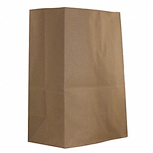 "Paper Sack, Brown, 57 lb., No Handle, 7"" Flat Bottom, Width 12"", Height 17"", 500 PK"
