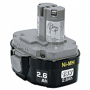 Battery Pack,18V,NiMH,2.6A/hr.
