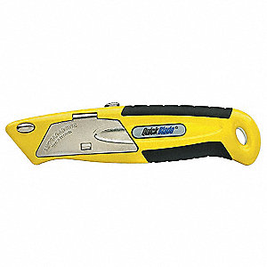 "High Visibility Yellow,Carbon Steel Utility Knife,6-1/2"" Overall Length,Number of Blades Included: 5"