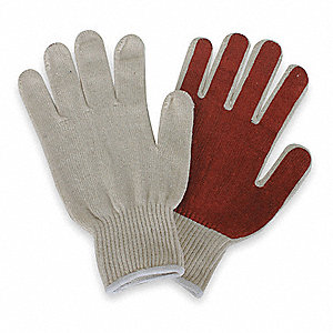 Natural/Rust Reversible Thumb Knit Gloves, Polyester/Cotton, Size XL, 10 Gauge