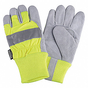 Leather Palm Gloves,Hi-Vis Lime,XL,PR