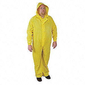 "Unisex Yellow PVC Coverall Rainsuit with Hood, Size: M, Fits Chest Size: 40"" to 42"""