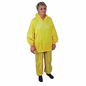 "Unisex Yellow PVC 2-Piece Rainsuit with Hood, Size: 4XL, Fits Chest Size: 58"" to 60"""
