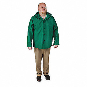 FR Rain Jacket/Detachable Hood,Green,M