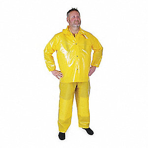 "Unisex Yellow Polyurethane Rain Jacket with Detachable Hood, Size 3XL, Fits Chest Size 56"" to 58"", 3"