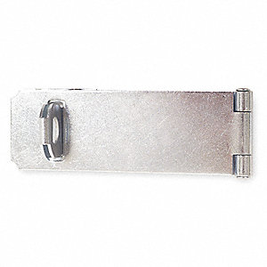 "Safety Adjustable Staple Hasp, 4-1/2"" Length, Steel, Zinc Plated Finish"
