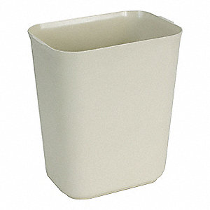10 gal. Rectangular Beige Open-Top Trash Can