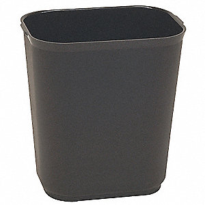 7 gal. Rectangular Black Fire-Resistant Open-Top Trash Can