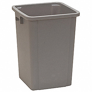 19 gal. Square Gray Open-Top Trash Can