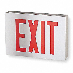 LED Exit Sign with Battery Backup, White Housing Color, Cast Aluminum Housing Material