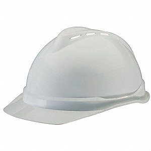 Hard Hat,FrtBrim,Slotted,4Rtcht,White