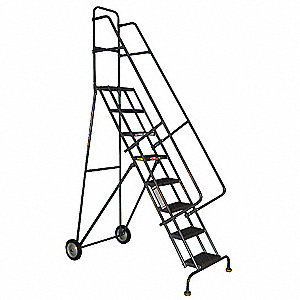 "Rolling Ladder, 90"" Overall Height, 450 lb. Load Capacity, Number of Steps 6"
