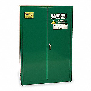 "Pesticide Safety Cabinet, Manual Door Type, 45 gal. Capacity, 65"" Height, 43"" Width, 18"" Depth"