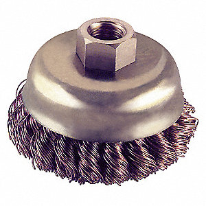 Knot Wire Cup Brush,Threaded Arbor,4 In.