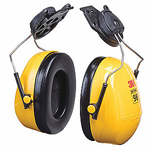 Yellow Cap-Mounted Ear muff, Noise Reduction Rating NRR: 23dB, Dielectric: No