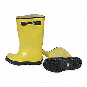 "17""H Men's Overboots, Plain Toe Type, Rubber Upper Material, Yellow/Black, Size 8"