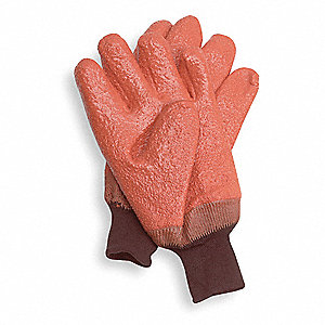 Cold Protection Gloves, Jersey Lining, Knit Wrist Cuff, Orange, L, PR 1