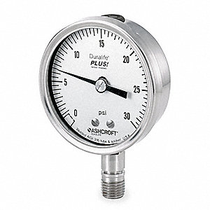 "Pressure Gauge, Test Gauge Type, 0 to 30 psi Range, 2-1/2"" Dial Size"