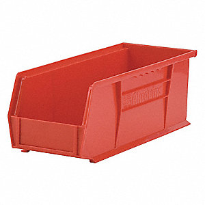 "Hang and Stack Bin, Red, 14-3/4"" Outside Length, 5-1/2"" Outside Width, 5"" Outside Height"