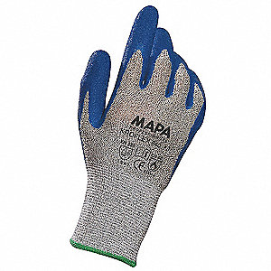 Natural Rubber Latex, Cut Resistant Gloves, High-Density Polyethylene Lining, Blue/Gray, L, PR 1