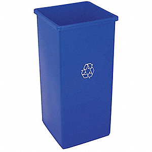 32 gal. Blue Stationary Recycling Container, Open Top