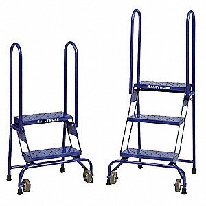 "Folding Rolling Ladder, 65"" Overall Height, 350 lb. Load Capacity, Number of Steps 4"