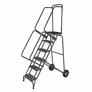 "Rolling Ladder, 103"" Overall Height, 450 lb. Load Capacity, Number of Steps 7"