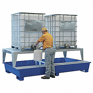 Twin IBC Containment Unit,36 In. H,Blue