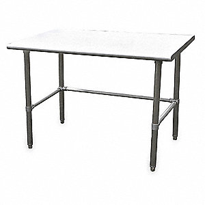 "Adjustable Worktable, 72"" Width, Stainless Steel Top, Frame and Base600 lbs. Load Rating"