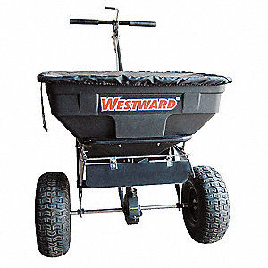 Broadcast Spreader, 125 lb. Capacity, Pneumatic Wheel Type, 1 Hole Drop Type, Fixed T Handle