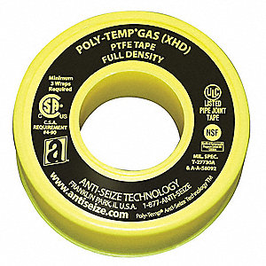 "1/2""W PTFE Gas Line Sealant Tape, Yellow, 260"" Length"