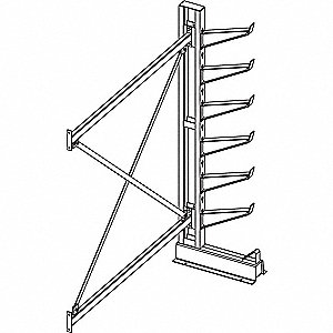 "Cantilever Rack Add-On Unit, 72"" Base Length, Number of Sides 1, Number of Arms 6"