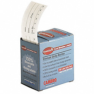 "Dissolvable Food Rotation Label, Self-Adhesive Paper, Rectangle, Width 2"", Height 1-1/4"", 24 PK"
