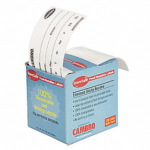 "Dissolvable Food Rotation Label, Self-Adhesive Paper, Rectangle, Width 3"", Height 2"", 24 PK"