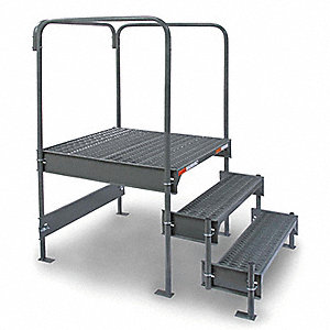 "Work Platform, Steel, Single Access Platform Style, 24"" to 27"" Platform Height"