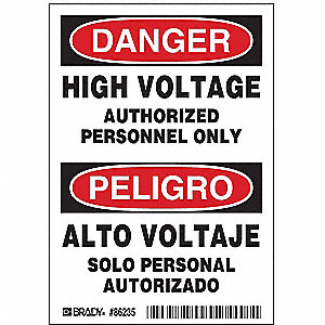 Danger/Peligro Label,5 In. H,PK5