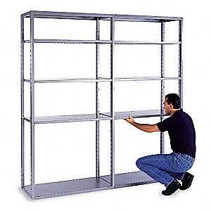 "Add-On Shelving Unit, 85-1/2"" Height, 36"" Width, 600 lb. Shelf Capacity, Number of Shelves 5"
