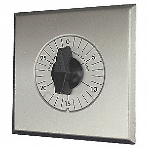 Spring-Wound Timer, Brushed Aluminum, Timing Range:  0 to 30 min.