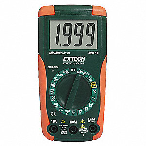 Digital Multimeter, Compact Multimeter Style, 600 Max. AC Volts, 600
