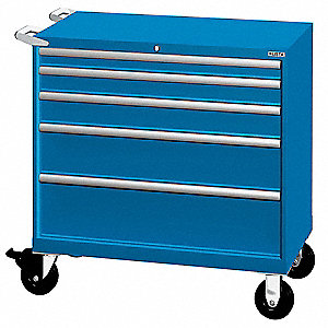 Bright Blue Mobile Workbench Cabinet, 440 lb. Load Capacity, (2) Rigid, (2) Swivel Caster Type