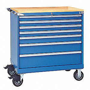 Bright Blue Mobile Service Bench, 440 lb. Load Capacity, (2) Rigid, (2) Swivel Caster Type