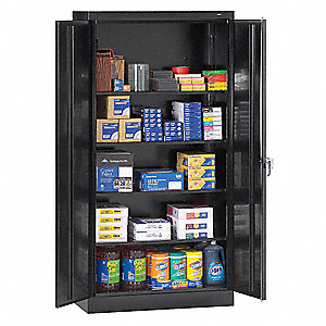 "Storage Cabinet, Black, 72"" Overall Height, Unassembled"