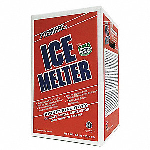 Blue Granular Ice Melt, -8 Degrees F Effective Temp., Size: 50 lb., Carton Package Type