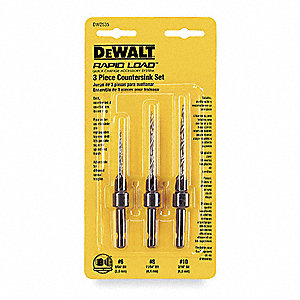 Countersink Hex Drill Bit Set,3 Pc,#6-10