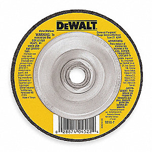 "4-1/2"" Depressed Center Wheel, Aluminum Oxide, 1/8"" Thickness, 5/8""-11 Arbor Size, Type 27"