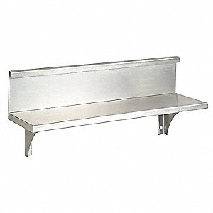 Utility Shelf w/Backsplash,8-1/8x18x5In