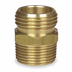 "Brass Hose To Pipe Adapter, 3/4"" MGHT x 3/4"" MNPT Connection"